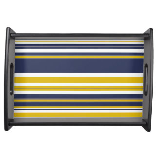 Navy Yellow and Gray Stripes Serving Tray