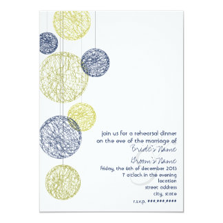 Navy & Yellow Twine Globes Rehearsal Dinner Card