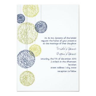 "Navy & Yellow Twine Globes Wedding Invitation 5"" X 7"" Invitation Card"