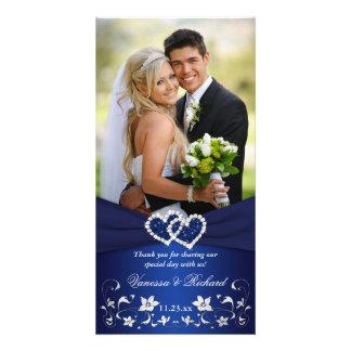 Navyl Blue Silvee Floral Hearts Wedding Photo Card