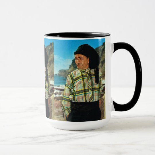 Nazare, Portugal, fisherman on the beach Mug