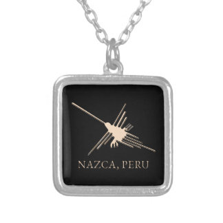 Nazca Hummingbird Geoglyph Newsprint Silver Plated Necklace