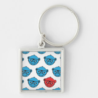 nc 0412 bluemonkey Silver-Colored square key ring