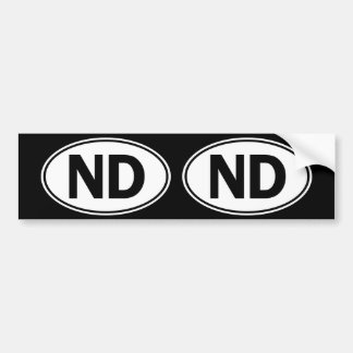 ND Oval Identity Sign Bumper Sticker