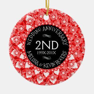 @nd Wedding Anniversary Red Diamonds And Black Round Ceramic Decoration