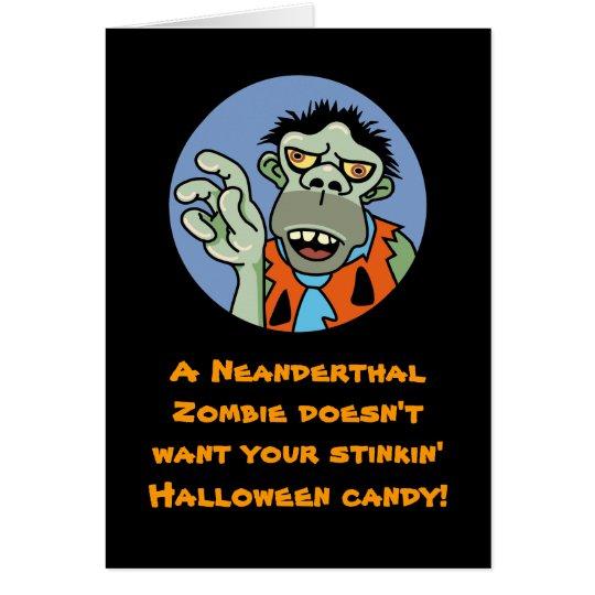 Neanderthal Zombie Halloween Card