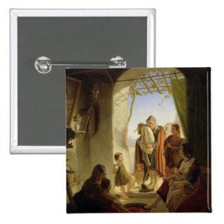 Neapolitan bagpipe player in wintry Rome, 1833 15 Cm Square Badge