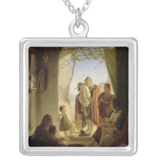 Neapolitan bagpipe player in wintry Rome, 1833 Silver Plated Necklace