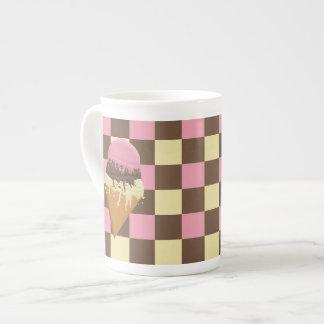 Neapolitan Ice Cream Bone China Mug Checkered