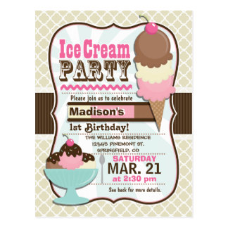 Neapolitan Ice Cream Kid's Birthday Party Postcard