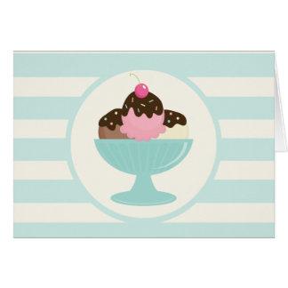 Neapolitan Ice Cream Sundae; Cherry & Sprinkles Note Card