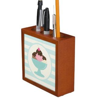 Neapolitan Ice Cream Sundae; Cherry & Sprinkles Pencil/Pen Holder