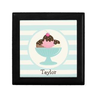 Neapolitan Ice Cream Sundae; Cherry & Sprinkles Small Square Gift Box