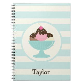 Neapolitan Ice Cream Sundae; Cherry & Sprinkles Notebooks