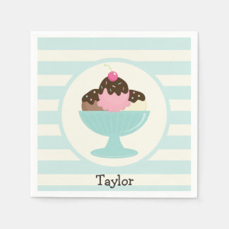 Neapolitan Ice Cream Sundae; Cherry & Sprinkles Paper Napkins