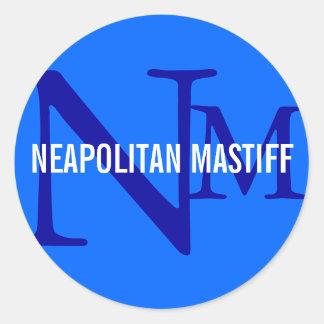 Neapolitan Mastiff Breed Monogram Design Round Stickers