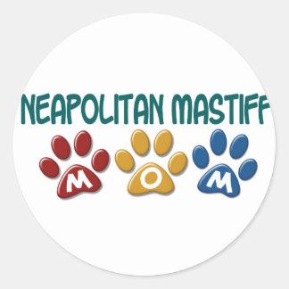 NEAPOLITAN MASTIFF Mom Paw Print 1 Classic Round Sticker