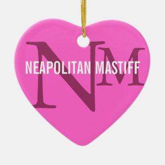 Neapolitan Mastiff Monogram Design Ceramic Heart Decoration