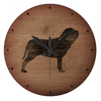 Neapolitan Mastiff Silhouette Rustic Large Clock