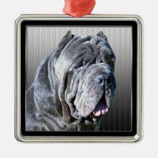 Neapolitan Mastiff Silver-Colored Square Decoration