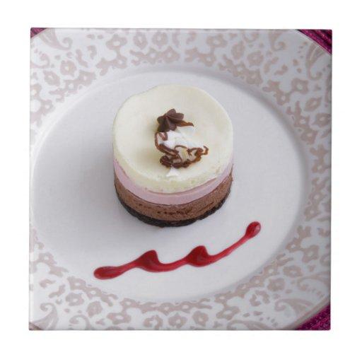 Neapolitan mousse dessert 3 tiles