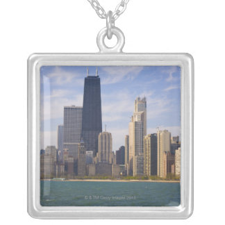 Near North city skyline and Hancock Tower from Silver Plated Necklace