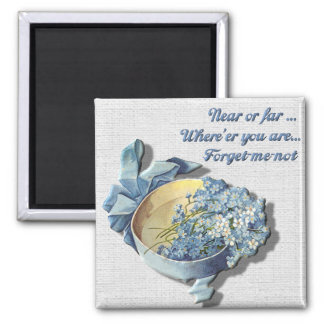 Near or Far Forget Me Not Square Magnet