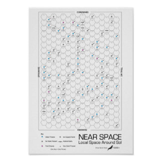 Near Space Hexagon Star-Map (White Background) Poster