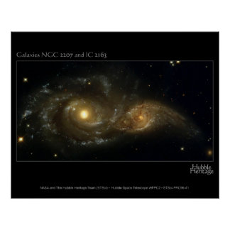 Nearly Colliding Galaxies Hubble Telescope Poster