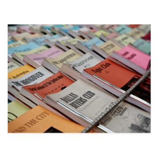 neatly displayed bookstore postcard