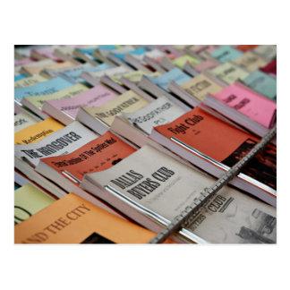neatly displayed bookstore postcard