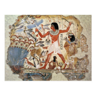 Nebamun hunting in the marshes with his wife postcard
