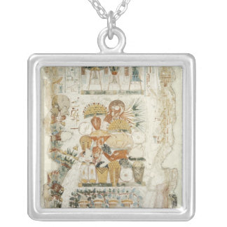 Nebamun receiving offerings from his son silver plated necklace