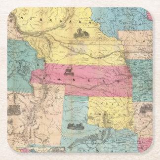 Nebraska and Kansas 3 Square Paper Coaster