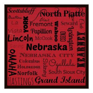 Nebraska cities typography art poster