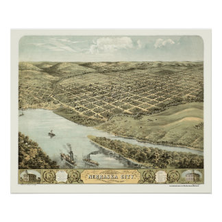 Nebraska City, NE Panoramic Map - 1868 Poster