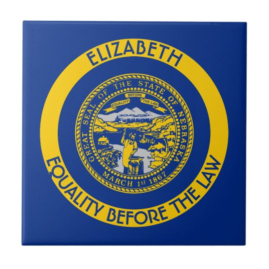 Nebraska Cornhusker State Personalised Flag Small Square Tile