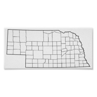 Nebraska Counties Blank Outline Map Poster
