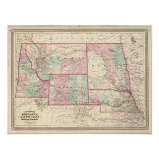 Nebraska, Dakota, Idaho, Montana, and Wyoming Poster