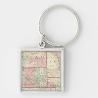 Nebraska, Dakota, Idaho, Montana, and Wyoming Silver-Colored Square Key Ring