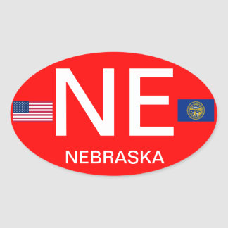 Nebraska* Euro-style Oval Sticker