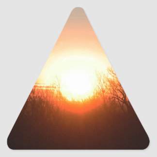 Nebraska Fall Sunrise Over Fields and Brush Bright Triangle Sticker