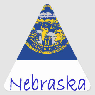 Nebraska Flag And Name Triangle Sticker