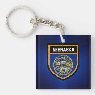 Nebraska Flag Double-Sided Square Acrylic Key Ring