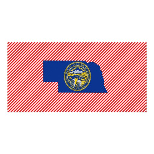 Nebraska Flag Map Photo Card Template
