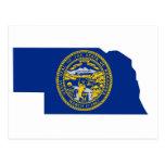 Nebraska Flag Map Post Cards