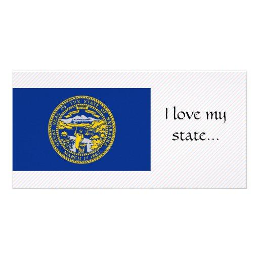 Nebraska Flag Customized Photo Card