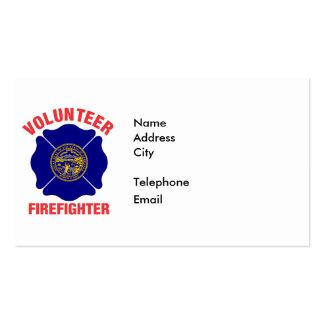 Nebraska Flag Volunteer Firefighter Cross Business Cards