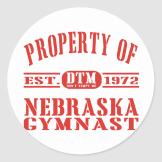 Nebraska Gymnast Round Sticker