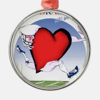 nebraska head heart, tony fernandes Silver-Colored round decoration